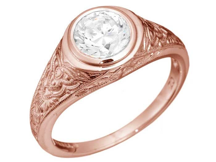 Jabel Celtic style rose gold bezel engagement ring