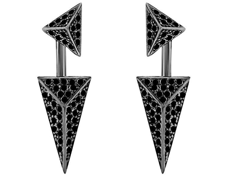 Dazzlers black CZ pyramid double earrings