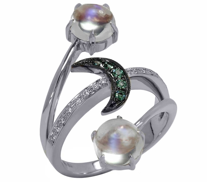 Mark Henry alexandrite moon and moonstone ring