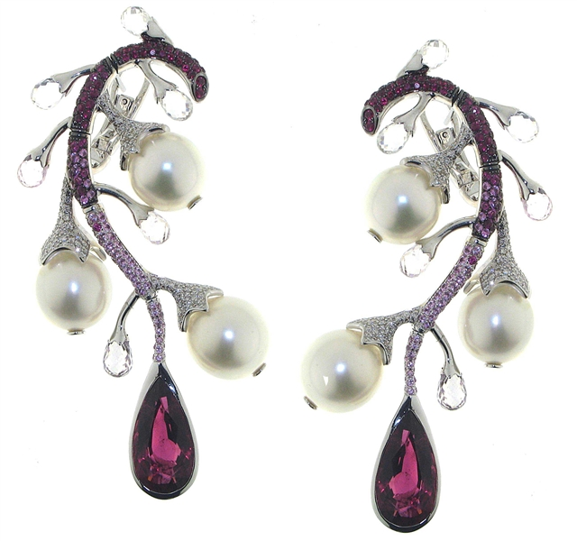 JewelTech rubellite and pearl branch earrings