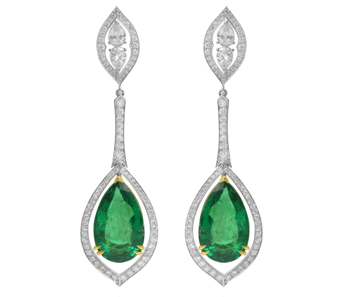 Leibish and Co. emerald and diamond pear drop earrings