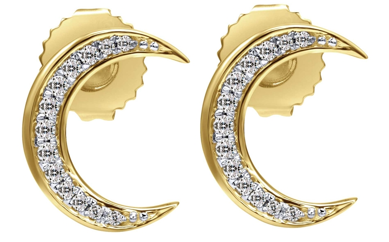 Gabriel Co. Stellare diamond crescent moon earrings