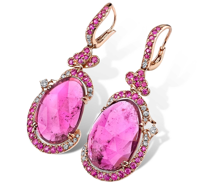 Parade Design pink tourmaline slice earrings