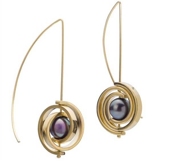 Martha Seely Tahitian pearl spiral drop earrings