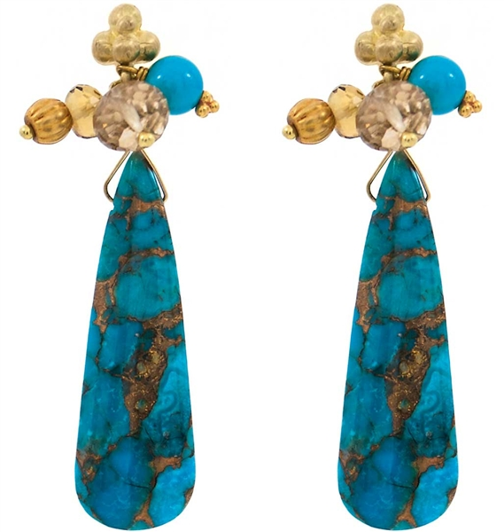 Laura Gibson copper turquoise drop earrings