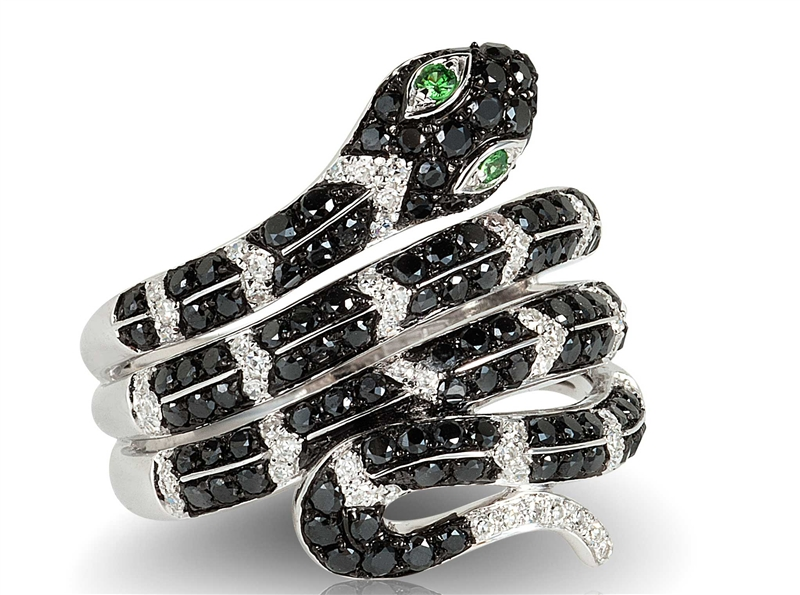 EFFY Jardin Critters black diamond snake ring