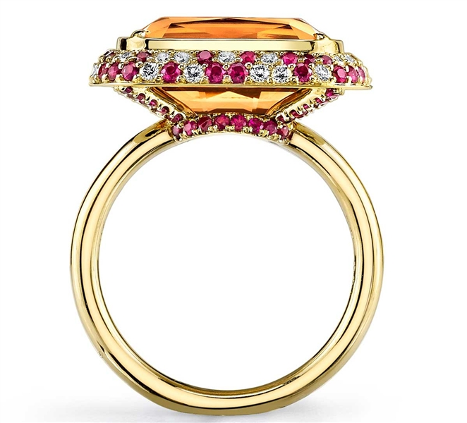Omi Prive imperial topaz and ruby ring