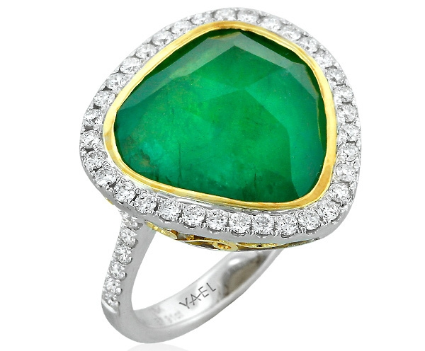 Yael Designs emerald slice halo ring