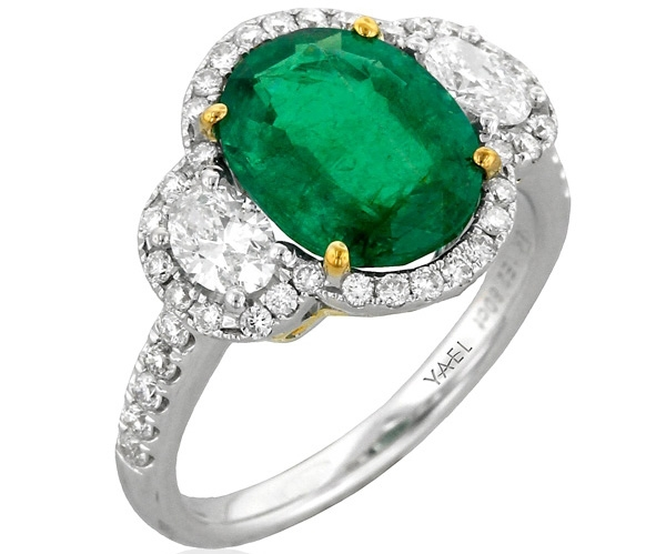 Yael Designs three-stone emerald and diamond ring