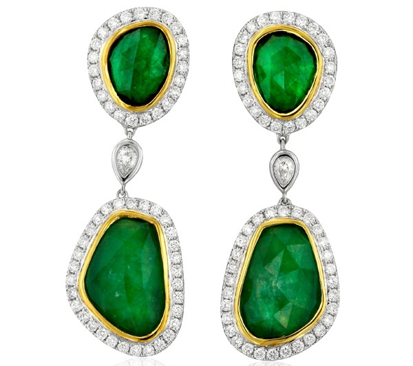 Yael Designs emerald slice earrings