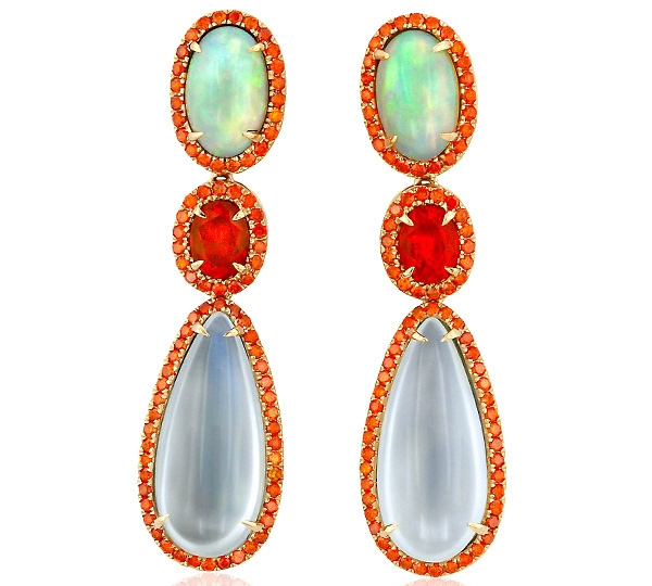 Yael Designs Blaze opal and moonstone earrings