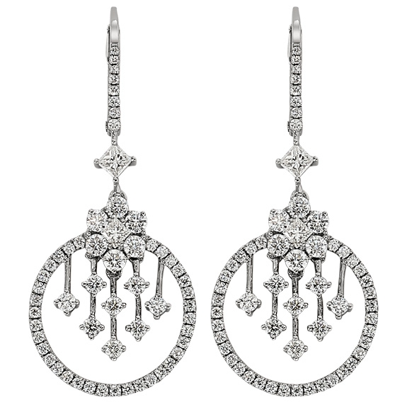 Cordova Wind Chimes diamond circle earrings