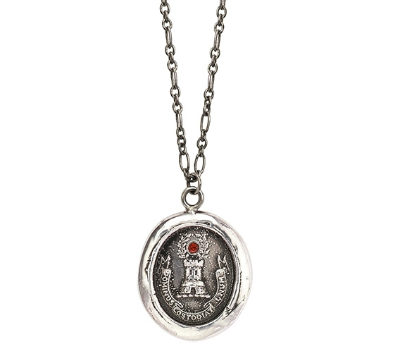 Pyrrah Safe From Harm talisman necklace with garnet