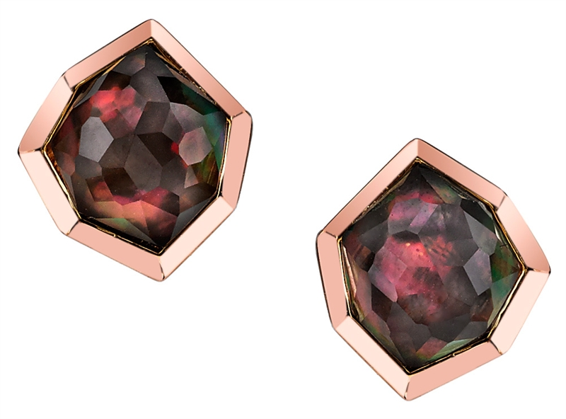 Ian Saude for Kaiser Gems rose gold edgy Mosaic earrings