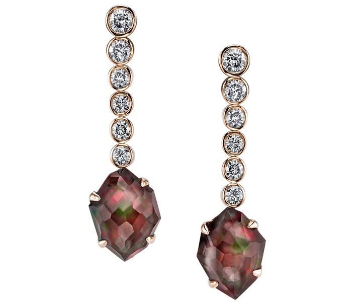 Ian Saude for Kaiser Gems graduated diamond and doublet earrings