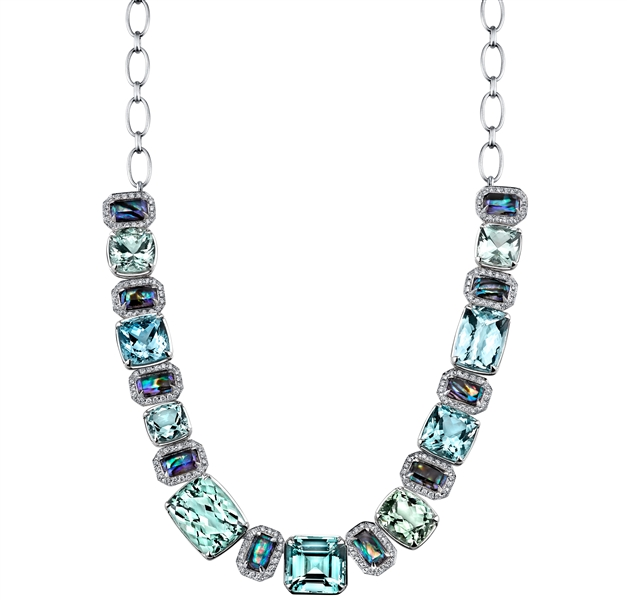 Ian Saude for Kaiser Gems one of a kind aquamarine and doublet necklace
