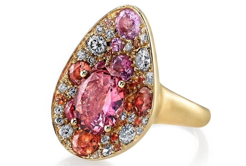 Ian Saude for Kaiser Gems padparadscha mixed teardrop ring