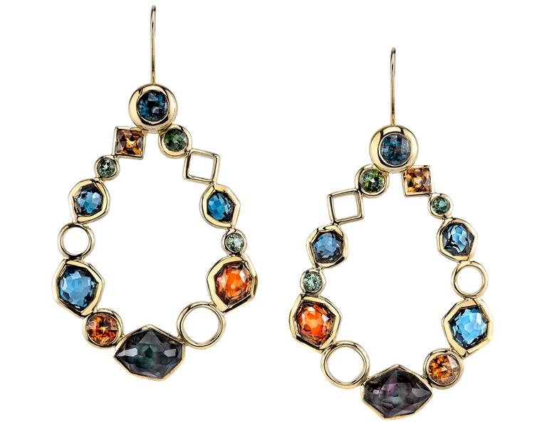 Ian Saude for Kaiser Gems mixed gemstone wreath earrings