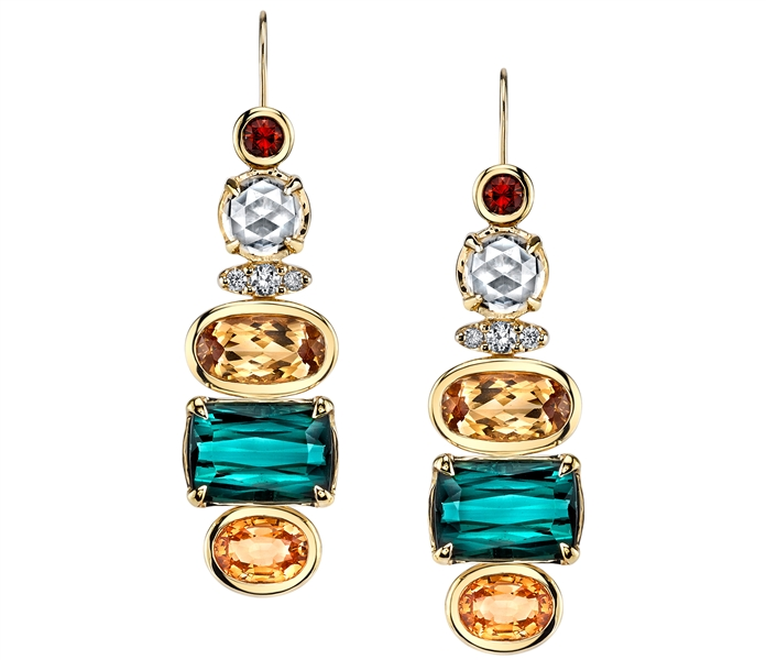 Ian Saude for Kaiser Gems one of a kind gemstone line earrings