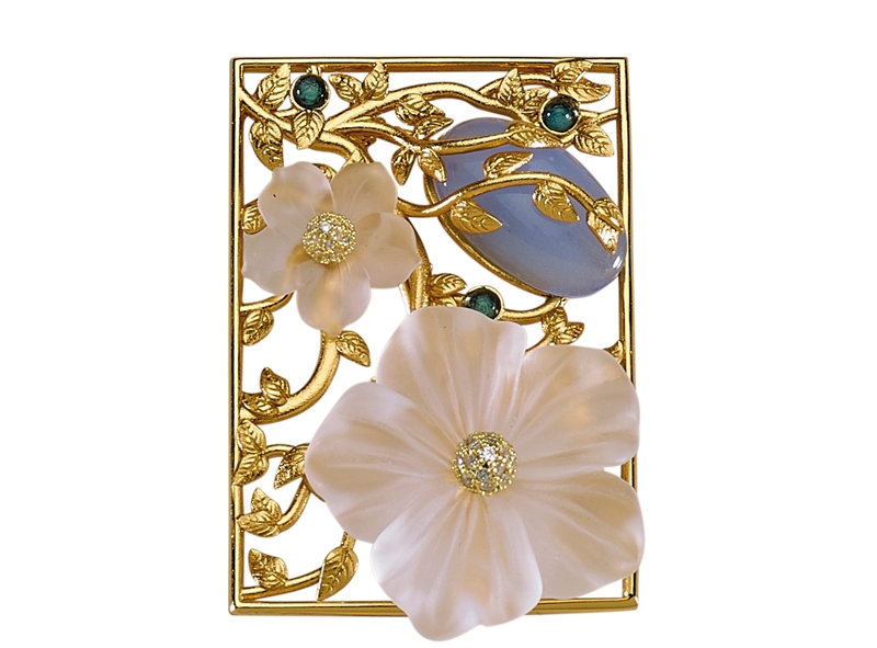 Misis crystal flower frame brooch