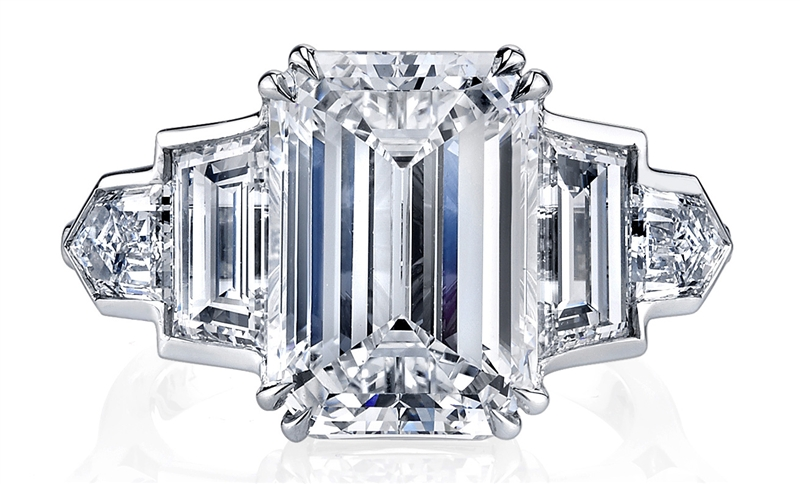 Joshua J 6 carat emerald-cut diamond engagement ring