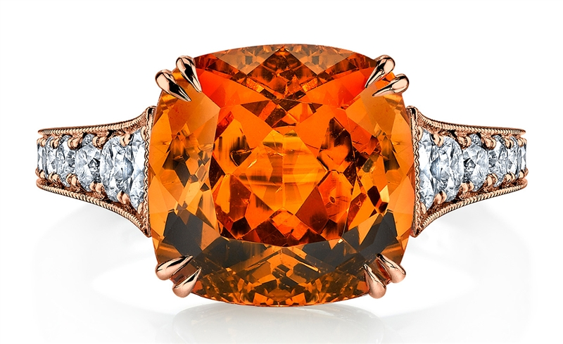 Omi Prive rose gold cushion spessartite ring