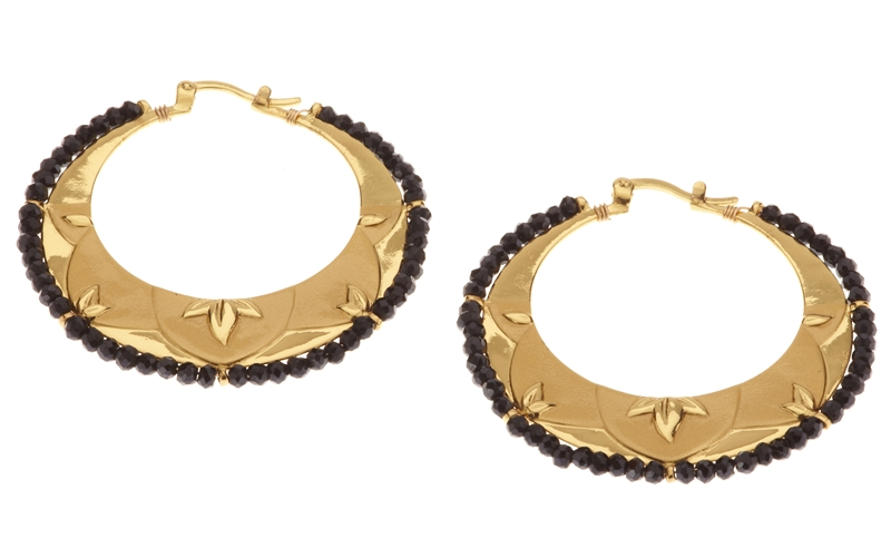 Rebecca Hook black spinel leaf hoop earrings