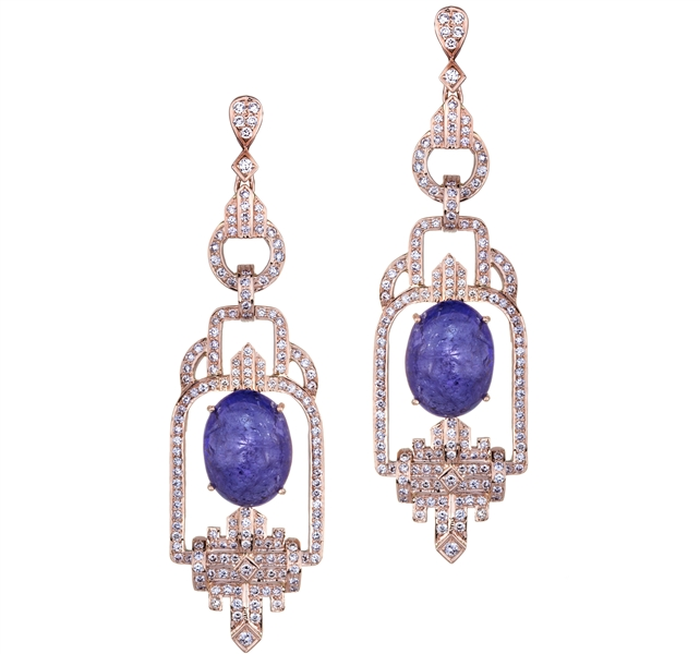 Sethi Couture tanzanite cabochon Deco earrings