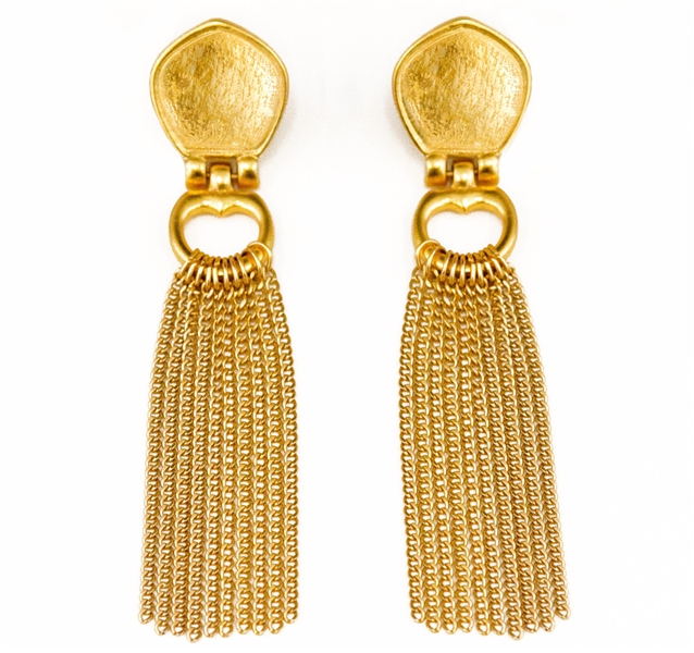Stephanie Kantis Cleo chain tassel earrings