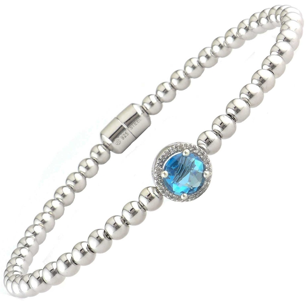 Lau International beaded blue topaz bracelet