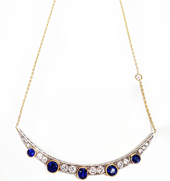 Shay sapphire and diamond moon necklace