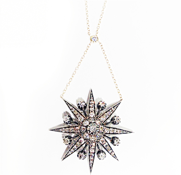 Shay Jewelry Victorian diamond starburst necklace