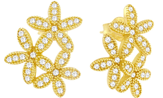 Charming Silver pave CZ flower earrings