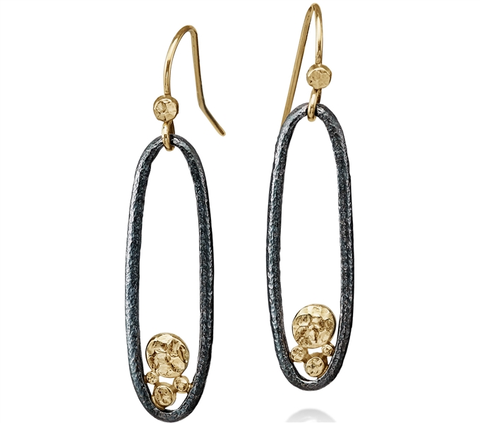 Rona Fisher skinny open oval drop earrings