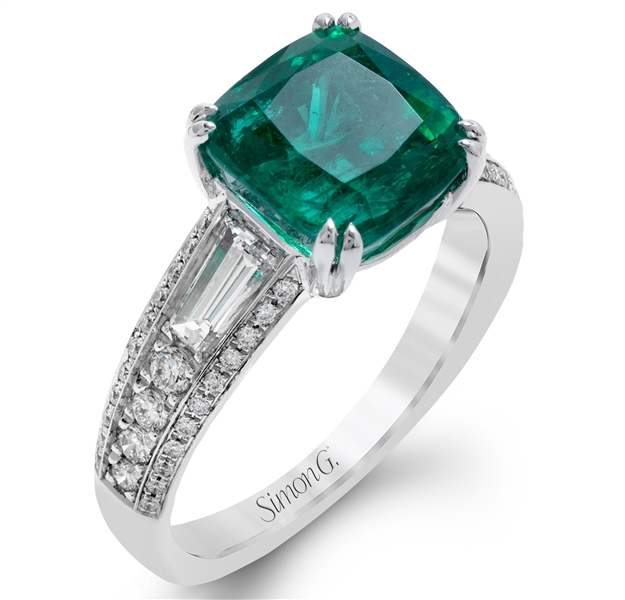 Simon G. emerald and diamond ring
