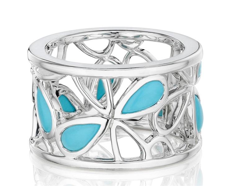 Thistle Bee turquoise Quatrefoil band