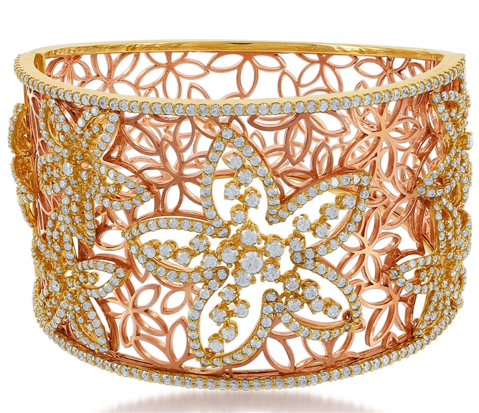 Jewels by Jacob diamond floral cuff bracelet