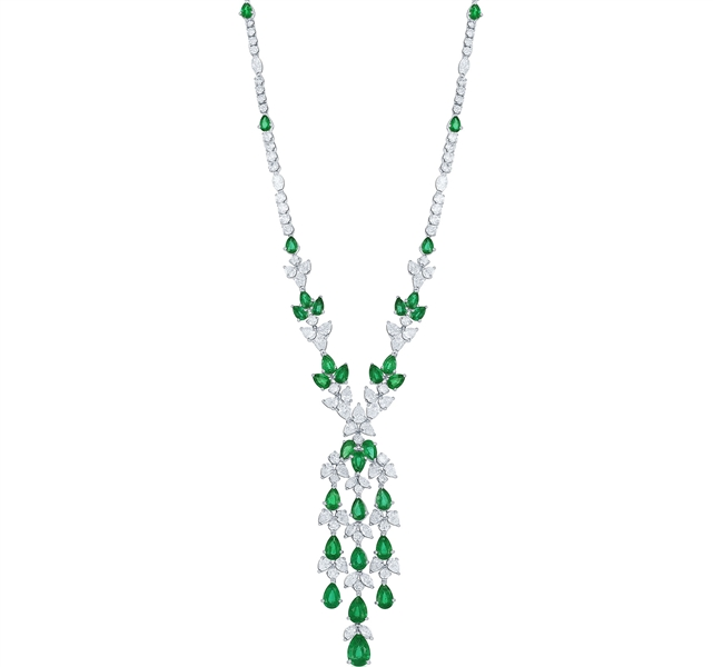Jewels by Jacob emerald and diamond necklace