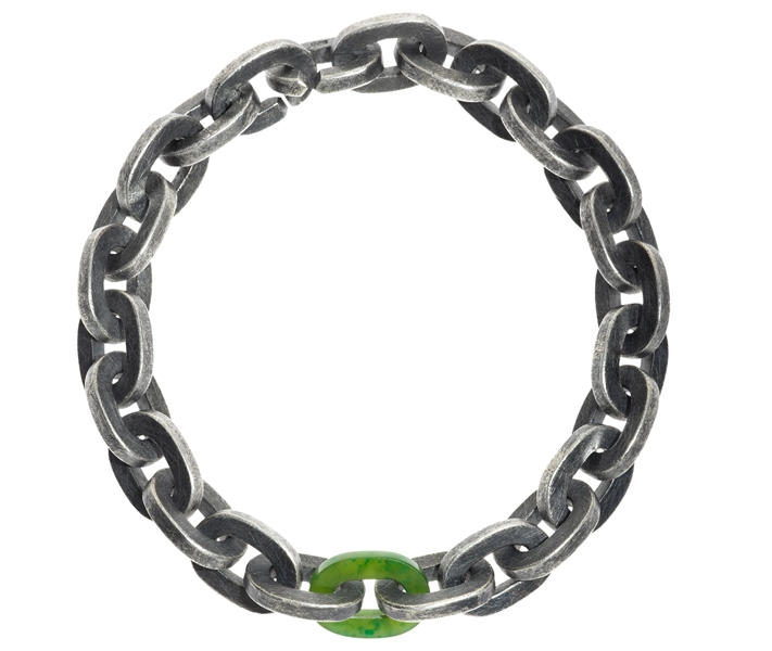 Todd Reed men's green jade link bracelet