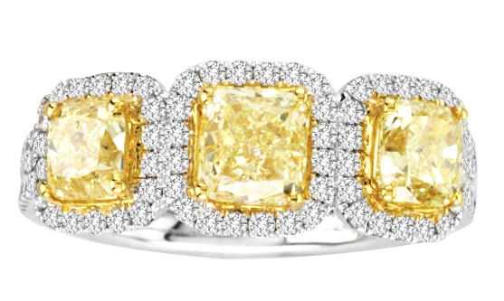 Designs by H.C. fancy yellow three-stone diamond ring
