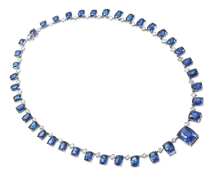JB Star sapphire and diamond necklace