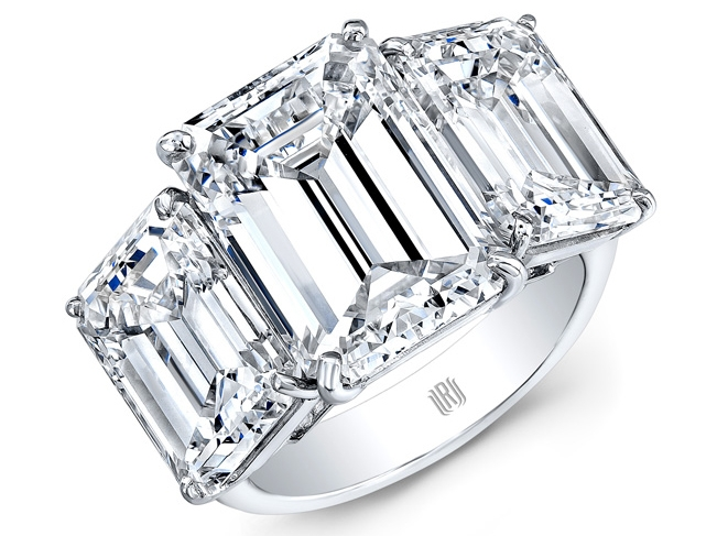 Rahaminov three-stone diamond emerald-cut engagement ring