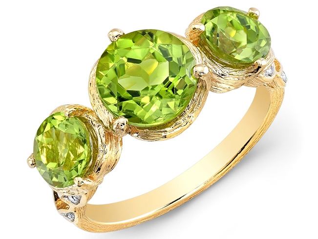 Loretta Castoro Love Doves peridot ring