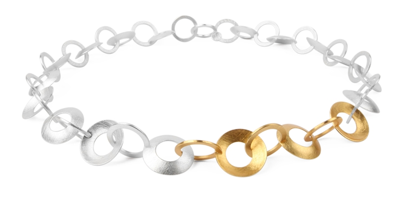 Marcin Zaremski two tone circle link necklace
