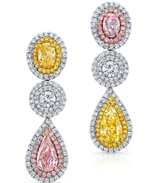 Ounce Collection tricolor diamond mismatched drop earrings