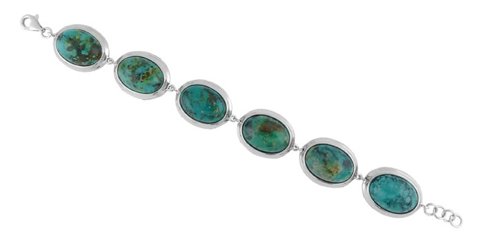 Charming Silver oval turquoise station bracelet