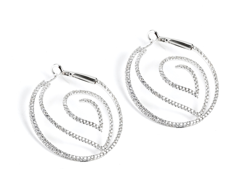 Supreme Jewelry swirled diamond hoop earrings