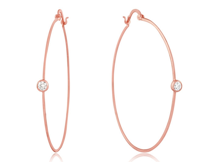 Charming Silver bezel CZ hoop earrings