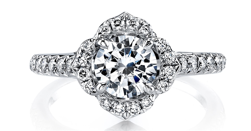 Parade Design petal halo dimaond engagement ring