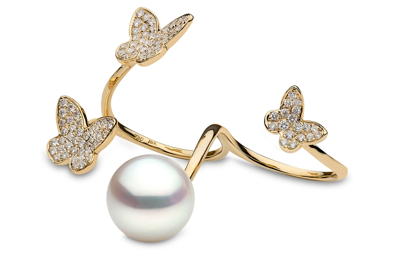Yoko London South Sea pearl and diamond butterfly ring